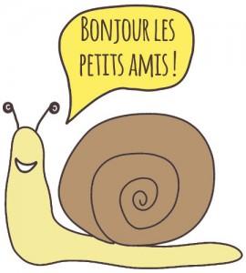 """monsieur l'escargot dit """"Bonjour les petits amis !"""""""