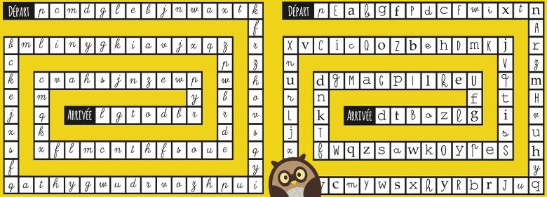 Jeu de l'oie avec lettres cursives / avec différents types de lettres