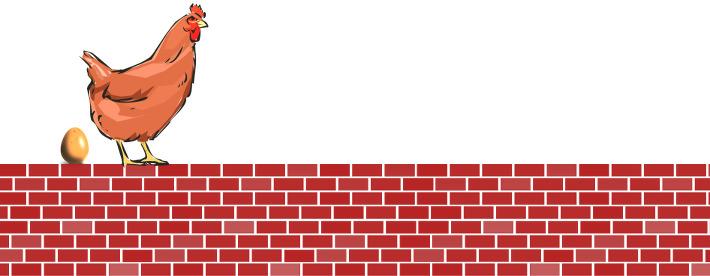 une poule sur un mur