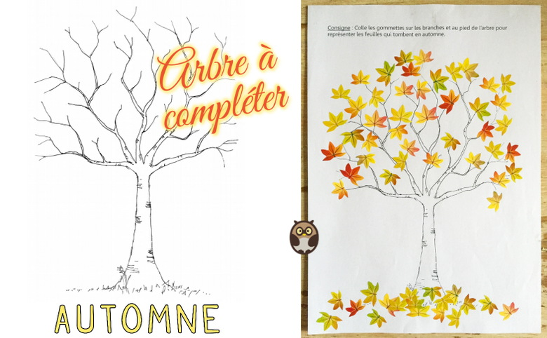 Arbre compl ter pour l 39 automne maternelle de bambou - Arbre d automne a colorier ...
