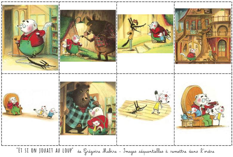 """Images séquentielles de l'album """"Et si on jouait au loup"""" de Grégoire Mabire"""