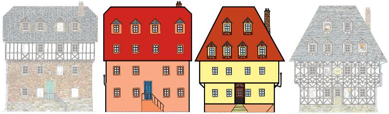 Façades des deux maisons des dix amis qui déménagent