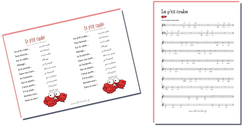 p'tit crabe - paroles et partition