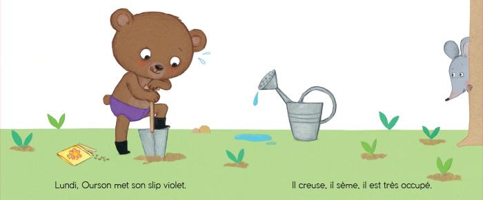 Ourson met son slip violet lundi - Bonne Semaine Ourson
