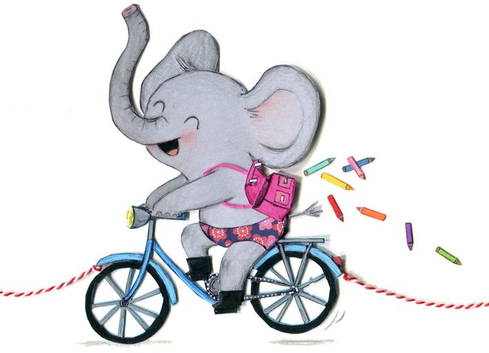 8 crayons de couleur s'échappent du cartable de l'éléphant ! (illustration de Cécile Hudrisier)