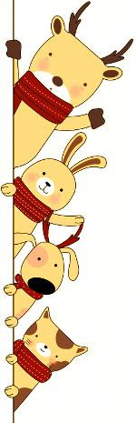 animaux avec écharpes pour Noël