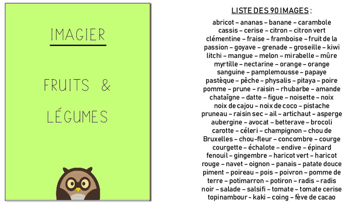 imagier - fruits et légumes