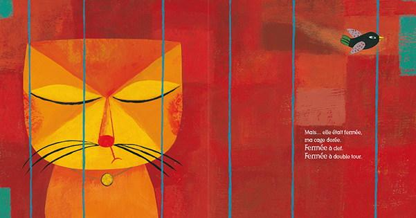 le chat et l'oiseau - la cage dorée est fermée à clef, fermée à double tour.