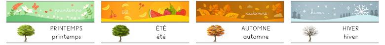 printemps été automne hiver - étiquettes horizontales à ajouter à la poutre du temps
