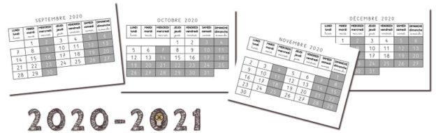 calendrier mois par mois pour 2020 - 2021