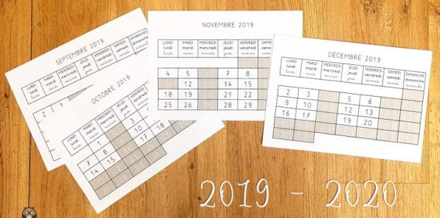Calendrier mensuel 2019 2020 pour la maternelle
