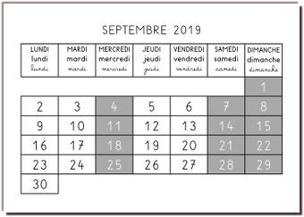 Calendrier en maternelle - aperçu du mois de septembre