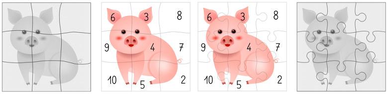 jeu du cochon qui rit - Ermel - Hatier - APPRENTISSAGES NUMÉRIQUES ET RÉSOLUTION DE PROBLÈMES GRANDE SECTION