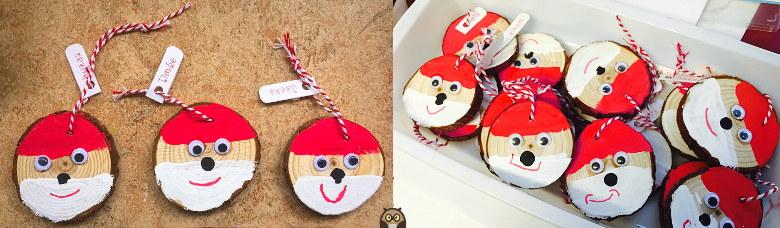 tranches de bois décorées en Père Noël