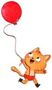 Petit Chat à la fête foraine avec son ballon rouge