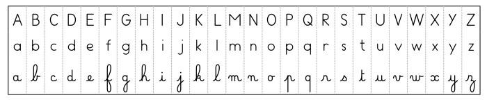 réglette de l'alphabet - lettres capitales - lettres scriptes - lettres cursives