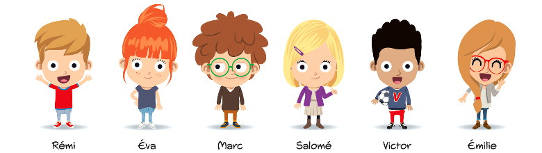 les personnages récurrents de la méthode Apili - Rémi, Eva, Marc, Salomé, Victor, Emilie