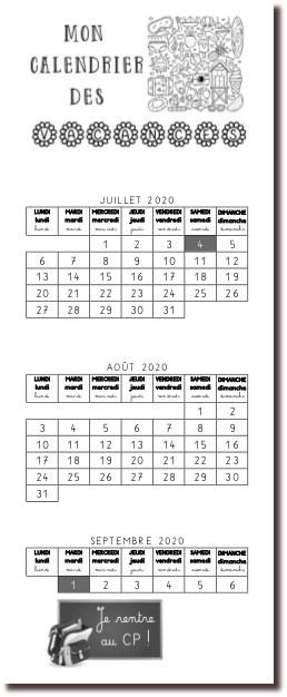 calendrier des grandes vacances d'été