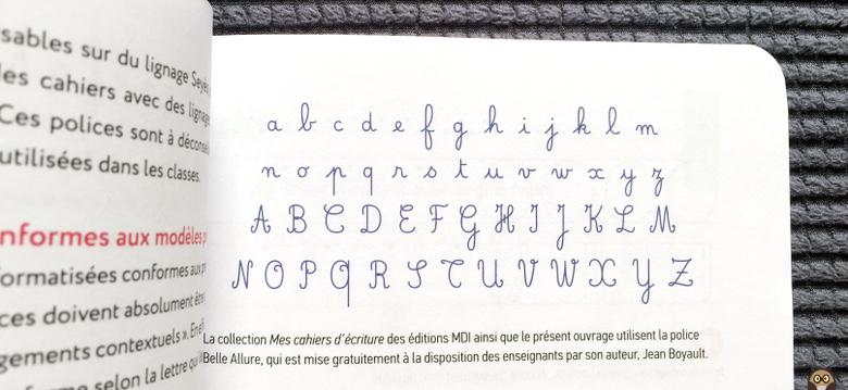 """bien écrire et aimer écrire - police cursive """"belle allure"""""""