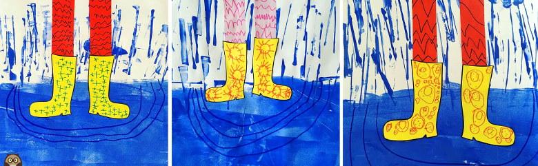 peinture, graphisme, flaques et bottes de pluie - MS/GS