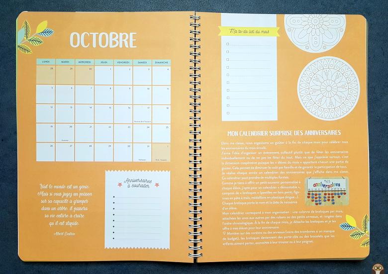 page mensuelle de l'organiseur