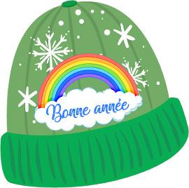 bonnet arc-en-ciel pour la nouvelle année