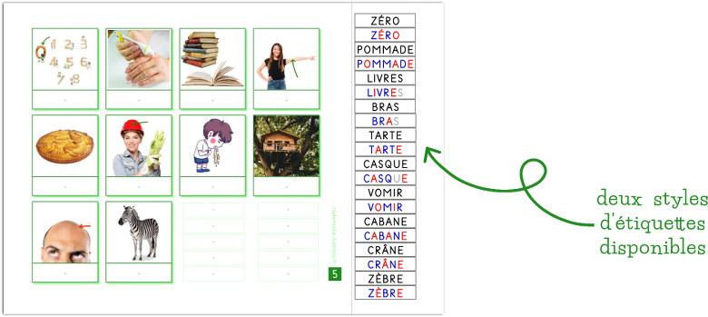 associer images et mots écrits