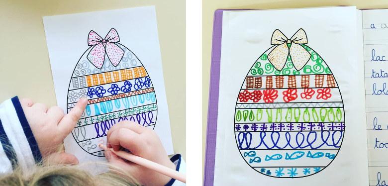 œuf de Pâques et graphisme décoratif - élèves de GS