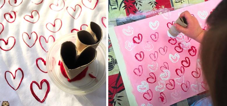 rouleau de papier toilette plié en forme de coeur