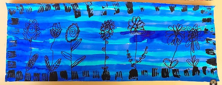 fleurs graphiques sur fond bleu