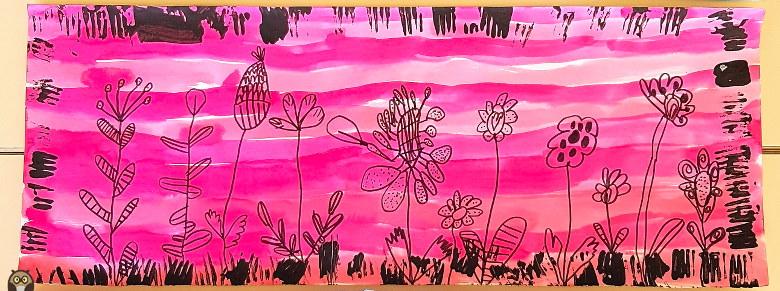 fleurs graphiques sur fond rose