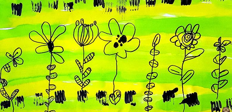 fleurs graphiques sur fond vert