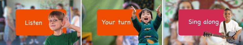Listen - Your turn - Sing along - Kokoro Lingua